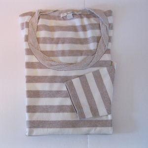 Boden Tan & White Striped Sweater